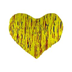 Yellow pattern Standard 16  Premium Heart Shape Cushions