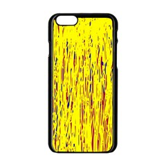 Yellow pattern Apple iPhone 6/6S Black Enamel Case
