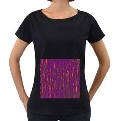Purple pattern Women s Loose-Fit T-Shirt (Black)