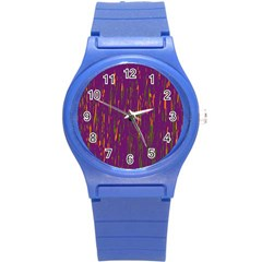 Purple pattern Round Plastic Sport Watch (S)