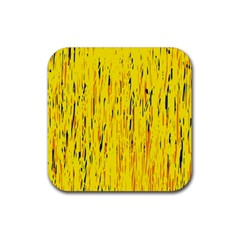 Yellow pattern Rubber Coaster (Square)