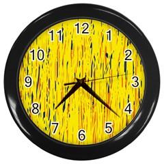 Yellow pattern Wall Clocks (Black)