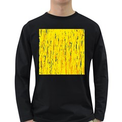 Yellow pattern Long Sleeve Dark T-Shirts