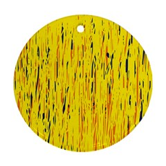 Yellow pattern Round Ornament (Two Sides)