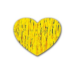 Yellow pattern Heart Coaster (4 pack)