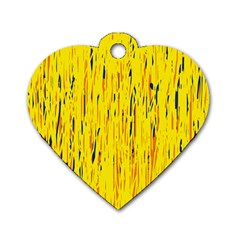 Yellow pattern Dog Tag Heart (One Side)