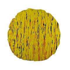 Yellow pattern Standard 15  Premium Flano Round Cushions