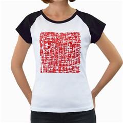 Red decorative pattern Women s Cap Sleeve T