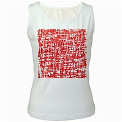 Red decorative pattern Women s White Tank Top