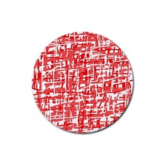 Red decorative pattern Rubber Coaster (Round)
