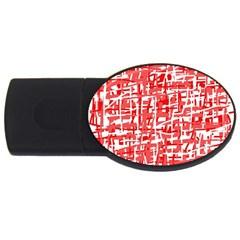 Red decorative pattern USB Flash Drive Oval (1 GB)