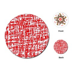Red decorative pattern Playing Cards (Round)