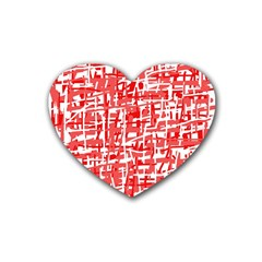 Red decorative pattern Heart Coaster (4 pack)