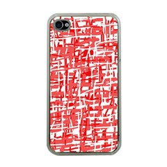 Red decorative pattern Apple iPhone 4 Case (Clear)