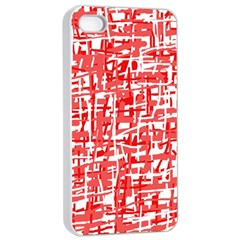 Red decorative pattern Apple iPhone 4/4s Seamless Case (White)