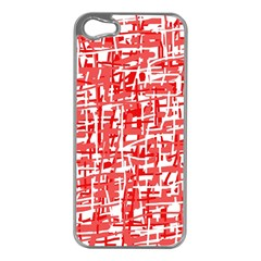 Red decorative pattern Apple iPhone 5 Case (Silver)
