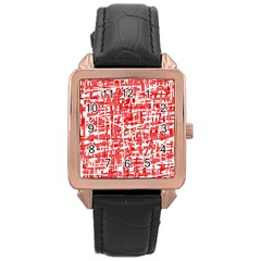 Red decorative pattern Rose Gold Leather Watch