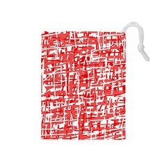 Red decorative pattern Drawstring Pouches (Medium)