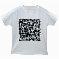 Gray pattern Kids White T-Shirts