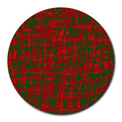 Green and red pattern Round Mousepads