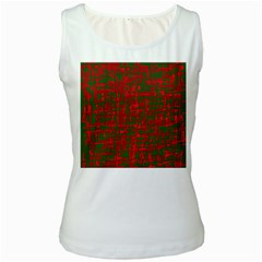 Green and red pattern Women s White Tank Top