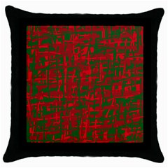 Green and red pattern Throw Pillow Case (Black)