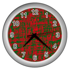 Green and red pattern Wall Clocks (Silver)