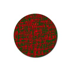 Green and red pattern Rubber Round Coaster (4 pack)