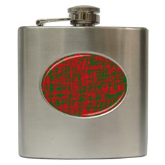 Green and red pattern Hip Flask (6 oz)