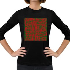 Green and red pattern Women s Long Sleeve Dark T-Shirts