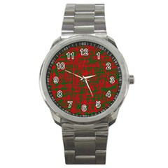 Green and red pattern Sport Metal Watch