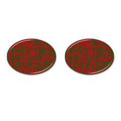 Green and red pattern Cufflinks (Oval)