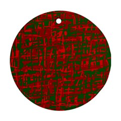 Green and red pattern Round Ornament (Two Sides)