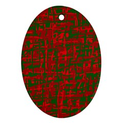 Green and red pattern Oval Ornament (Two Sides)
