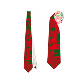 Green and red pattern Neckties (One Side)
