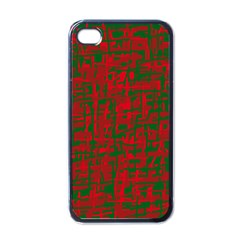 Green and red pattern Apple iPhone 4 Case (Black)