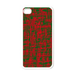 Green and red pattern Apple iPhone 4 Case (White)