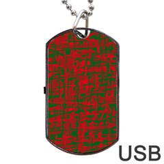Green and red pattern Dog Tag USB Flash (Two Sides)