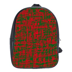 Green and red pattern School Bags (XL)