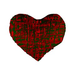 Green and red pattern Standard 16  Premium Heart Shape Cushions