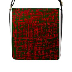 Green and red pattern Flap Messenger Bag (L)