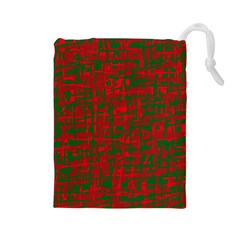 Green and red pattern Drawstring Pouches (Large)