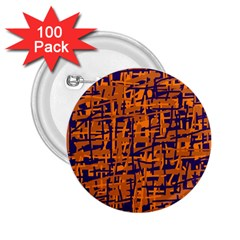 Blue and orange decorative pattern 2.25  Buttons (100 pack)