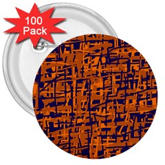 Blue and orange decorative pattern 3  Buttons (100 pack)