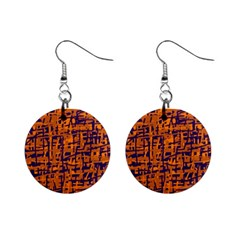 Blue and orange decorative pattern Mini Button Earrings