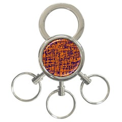 Blue and orange decorative pattern 3-Ring Key Chains