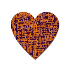 Blue and orange decorative pattern Heart Magnet