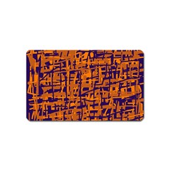 Blue and orange decorative pattern Magnet (Name Card)
