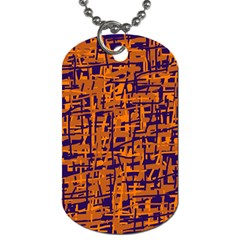 Blue and orange decorative pattern Dog Tag (Two Sides)