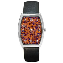 Blue and orange decorative pattern Barrel Style Metal Watch
